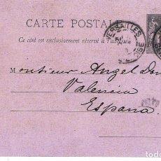 Sellos: CARTE POSTALE. DE HORTICULTOR DE FRANCIA A VALENCIA. OCTUBRE 1891.. Lote 147199066