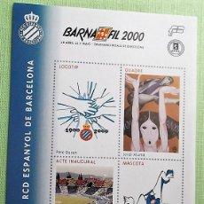 Sellos: CENTENARI RCD ESPANYOL DEBARCELONA. BARNAFIL 2000. LOGO/JORDI ALUMÀ/COMISSIÓ DEL CENTENARI/MASCOTA D. Lote 147354454