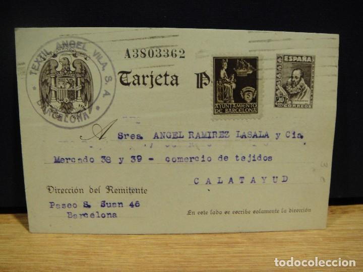 TARJETA POSTAL COMERCIAL TEXTIL ANGEL VILA, BARCELONA (Sellos - España - Tarjetas)