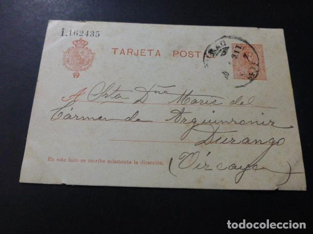 TARJETA POSTAL CIRCULADA DE BILBAO A DURANGO 1921 (Sellos - España - Tarjetas)