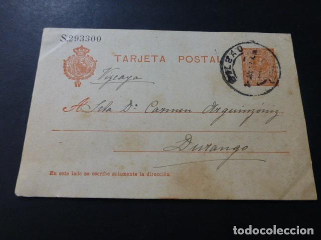TARJETA POSTAL CIRCULADA DE BILBAO A DURANGO 1913 (Sellos - España - Tarjetas)