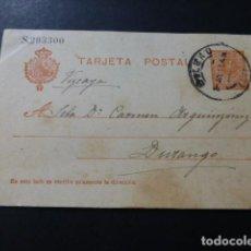 Sellos: TARJETA POSTAL CIRCULADA DE BILBAO A DURANGO 1913. Lote 147763450