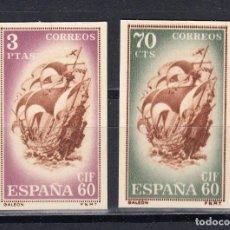 Sellos: TARJETA ENTERO POSTAL. SELLOS RECORTADOS. BARCELONA 1960. EDIFIL 88/89. Lote 150933938