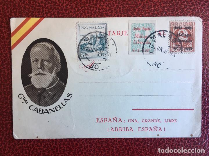 TARJETA POSTAL , IMAGEN DEL GENERAL CABANELLAS, FRANQUEADA CON 3 SELLOS PATRIOTICOS DE MALAGA (Sellos - España - Tarjetas)