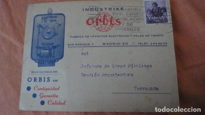 ANTIGUA TARJETA COMERCIAL.INDUSTRIAS ORBIS.FABRICA APARATOS ELECTRICOS Y RELES DE TIEMPO.MADRID (Sellos - España - Tarjetas)