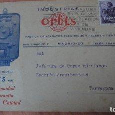Sellos: ANTIGUA TARJETA COMERCIAL.INDUSTRIAS ORBIS.FABRICA APARATOS ELECTRICOS Y RELES DE TIEMPO.MADRID. Lote 155417070