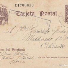 Sellos: 1942 TARJETA POSTAL SELLO DE TAMPON CENSURA PRISION CENTRAL TOTANA MURCIA. Lote 155914610