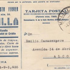 Sellos: 1935 TARJETA POSTAL MATASELLOS CIRCULAR MELILLA DE RODILLO ALCOY (ALICANTE) JUAN BAUTISTA FERRER. Lote 155916398