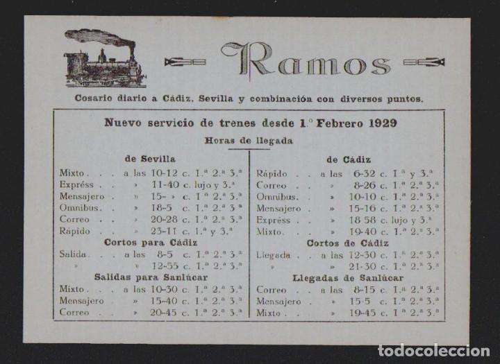 TARJETA PUBLICITARIA DE RAMOS.COSARIO DIARIO A CÁDIZ, SEVILLA.AÑO 1929.TAMAÑO: 14,5 X 10,5 CTMS. (Sellos - España - Tarjetas)