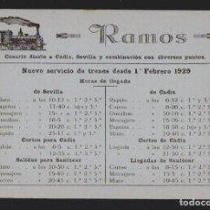 Sellos: TARJETA PUBLICITARIA DE RAMOS.COSARIO DIARIO A CÁDIZ, SEVILLA.AÑO 1929.TAMAÑO: 14,5 X 10,5 CTMS.. Lote 156654926