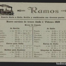Sellos: TARJETA PUBLICITARIA DE RAMOS.COSARIO DIARIO A CÁDIZ, SEVILLA.AÑO 1929.TAMAÑO: 14,5 X 10,5 CTMS.. Lote 156654982