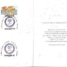 Sellos: INVITACIO INAUGURACIO OFICIAL EXPOSICIO FILATELICA I NUMISMATICA DIADA DE SANT JORDI PALAU MOJA 1995. Lote 158620330
