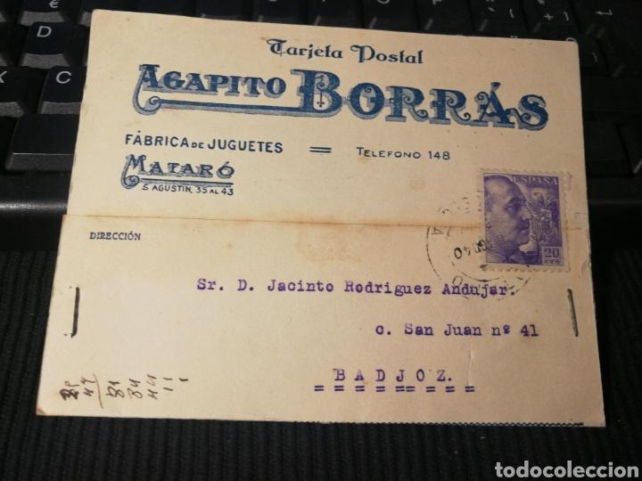 FABRICA DE JUGUETES. BORRAS. MATARO. 1940 (Sellos - España - Tarjetas)