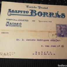 Sellos: FABRICA DE JUGUETES. BORRAS. MATARO. 1940. Lote 162098426
