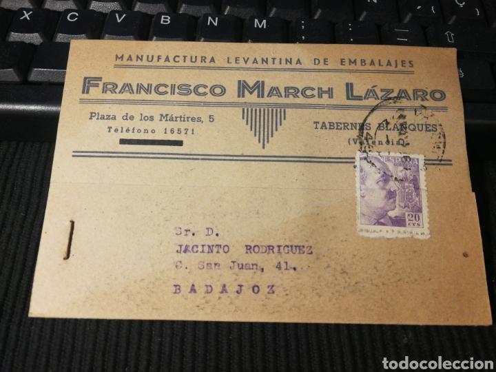 FRANCISCO MARCH LAZARO TABERNES. VALENCIA. 1943 (Sellos - España - Tarjetas)