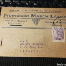 Sellos: FRANCISCO MARCH LAZARO TABERNES. VALENCIA. 1943. Lote 162100886