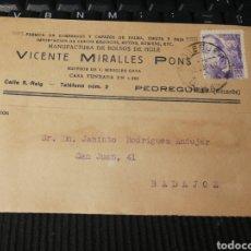 Sellos: VICENTE MIRALLES. PEDREGUER. VALENCIA. 1943. Lote 162101104