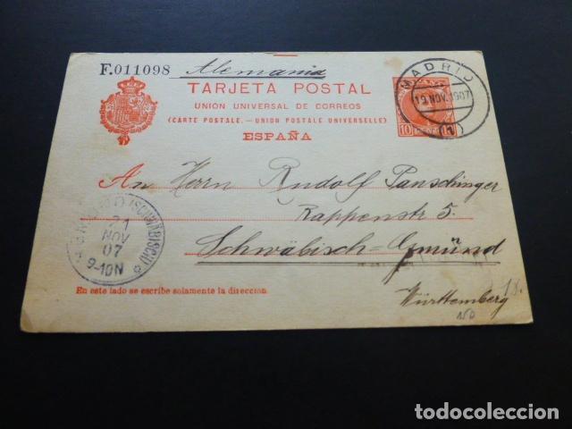 TARJETA POSTAL CIRCULADA MADRID 1907 A ALEMANIA (Sellos - España - Tarjetas)