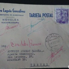 Sellos: TARJETA POSTAL PUBLICITARIA. NOVELDA. ALICANTE.. Lote 164926230