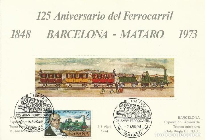 125 ANIVERSARIO DEL FERROCARRIL BARCELONA-MATARÓ 1848-1973. MATARÓ 1974. SELLO EN TARJETA SELLADO. (Sellos - España - Tarjetas)