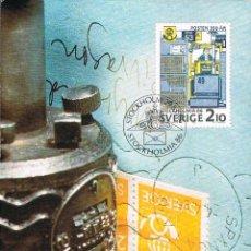 Sellos: SUECIA IVERT 1381, 350 ANIVERSARIO CORREO SUECO, UTENSILIO DE OBLITERACIÓN, MÁXIMA DE 29-8-1986. Lote 165214362