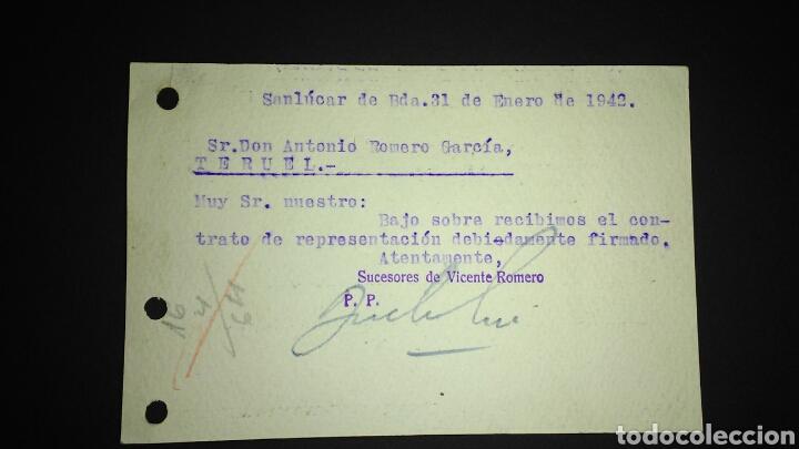 Sellos: TARJETA POSTAL PUBLICITARIA. SAN LUCAR DE BARRAMEDA. CADIZ. - Foto 2 - 165386989