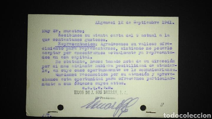 Sellos: TARJETA POSTAL PUBLICITARIA. ALGEMESI. VALENCIA. - Foto 2 - 165387590