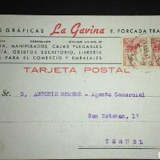 Sellos: TARJETA POSTAL PUBLICITARIA. CASTELLÓN.. Lote 165387860