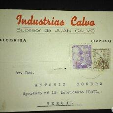 Sellos: TARJETA POSTAL PUBLICITARIA. ALCORISA. TERUEL.. Lote 165389118