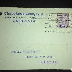 Sellos: TARJETA POSTAL PUBLICITARIA. ZARAGOZA.. Lote 165389593
