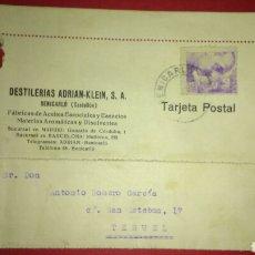 Sellos: TARJETA POSTAL COMERCIAL. DESTILERIA ADRIAN KLEIN. BENICARLO. CASTELLON.. Lote 165787592