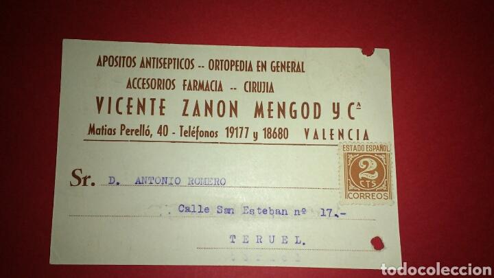 TARJETA POSTAL PUBLICITARIA. FARMACIA. VALENCIA. (Sellos - España - Tarjetas)