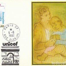 Sellos: FRANCIA IVERT 89, SERVICIO UNESCO, UNICEF, PRIMER DIA 11-6-1982 EN TARJETA. Lote 166643930