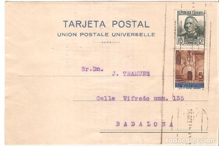 TARJETAS POSTALES, TARJETA COMERCIAL, ERNEST F.C.WITTY, BARCELONA, 1936, CIRCULADA CON SUS SELLOS (Sellos - Extranjero - Tarjetas)