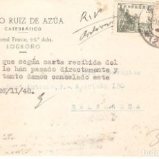 Sellos: TARJETAS POSTALES, TARJETA COMERCIAL, CATEDRATICO JUTO RUIZ DE AZUA, LOGROÑO, 1948, CIRCL.CON SU SEL. Lote 167608896