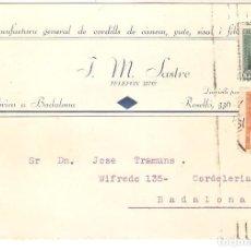 Sellos: TARJETAS POSTALES, TARJETA COMERCIAL, J.M.SASTRE, BADALONAM, 1933 , CIRC.CON SUS SELLOS. Lote 167611124