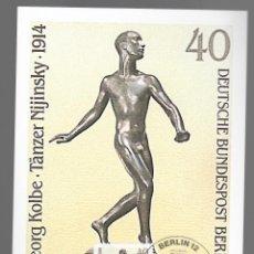Sellos: ESCULTURAS / GEORG KOLBE, TÄNZER NIJINSKY 1914 / ALEMANIA 12.11.1981. Lote 170287780