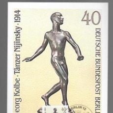 Sellos: ESCULTURAS / GEORG KOLBE, TÄNZER NIJINSKY 1914 / ALEMANIA 12.11.1981. Lote 170287860