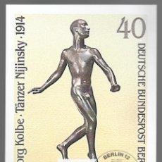 Sellos: ESCULTURAS / GEORG KOLBE, TÄNZER NIJINSKY 1914 / ALEMANIA 12.11.1981. Lote 170287880
