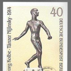 Sellos: ESCULTURAS / GEORG KOLBE, TÄNZER NIJINSKY 1914 / ALEMANIA 12.11.1981. Lote 170287920
