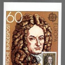 Sellos: EUROPA - PERSONAJES -GOTTFRIED WILHELM LEIBNIZ 1646-1716/ ALEMANIA 8.5.1980. Lote 170288200
