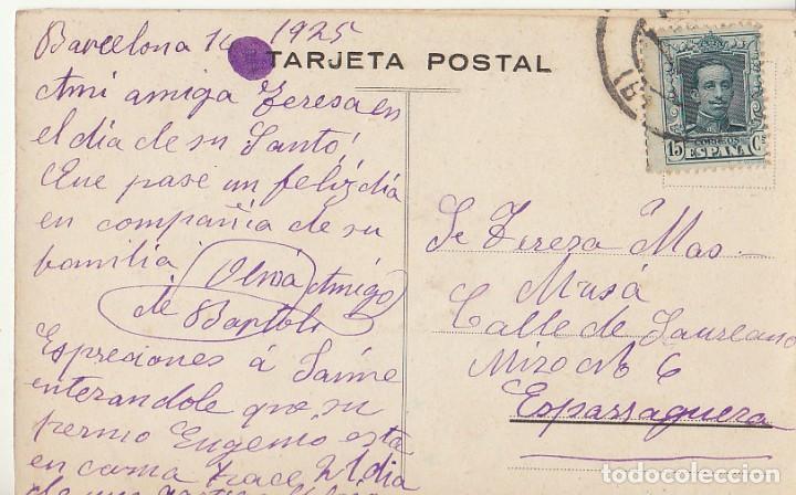 SELLO 315. ALFONSO XIII: BARCELONA A ESPARRAGUERA (BARCELONA) 1925. (Sellos - España - Tarjetas)