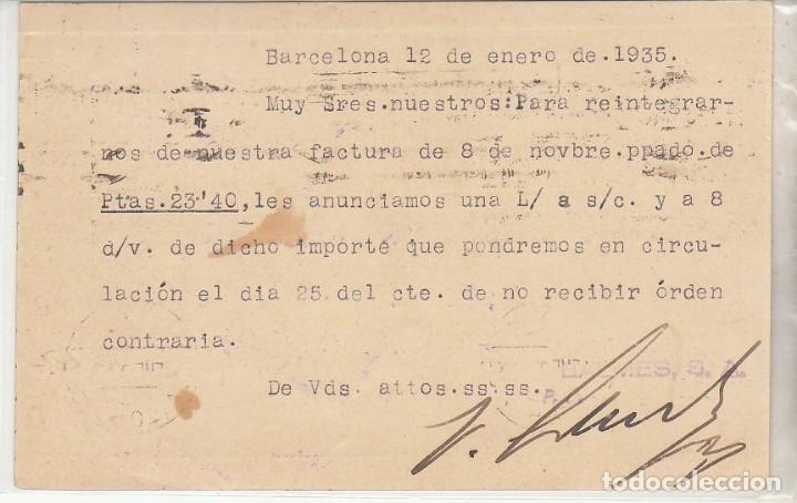 Sellos: TP: Sello 681 y B11. BARCELONA a VITORIA. 1935 - Foto 2 - 172996423