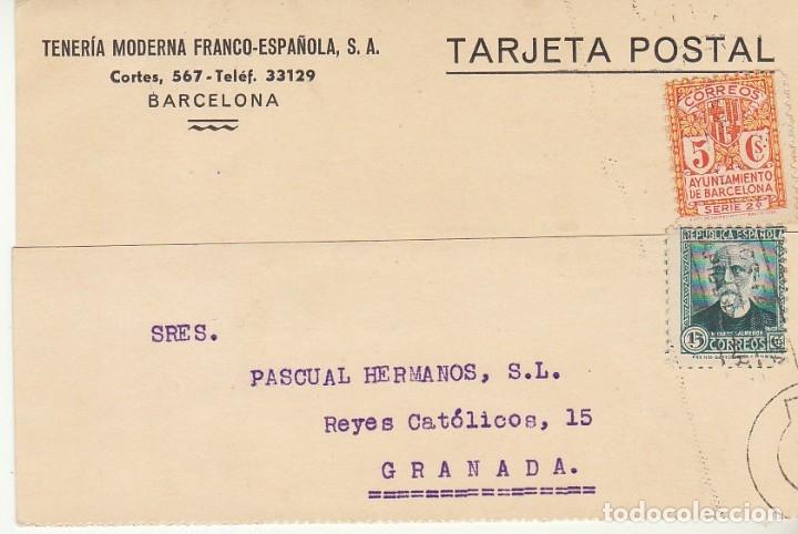 SELLO 657 Y B10. BARCELONA A GRANADA.1934. (Sellos - España - Tarjetas)