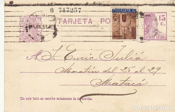 MATRONA DE PERFIL : BARCELONA A MATARÒ. 1936. (Sellos - España - Tarjetas)
