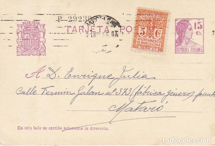 MATRONA DE PERFIL : BARCELONA A MATARÓ. 1933. (Sellos - España - Tarjetas)