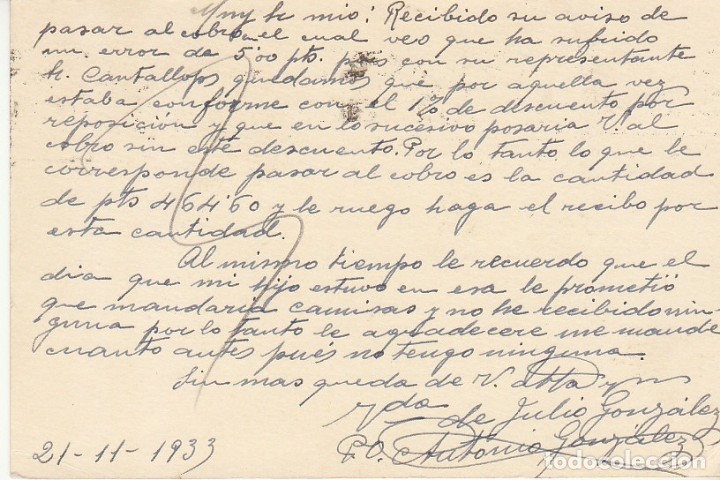 Sellos: MATRONA de PERFIL : BARCELONA a MATARÓ. 1933. - Foto 2 - 172998893