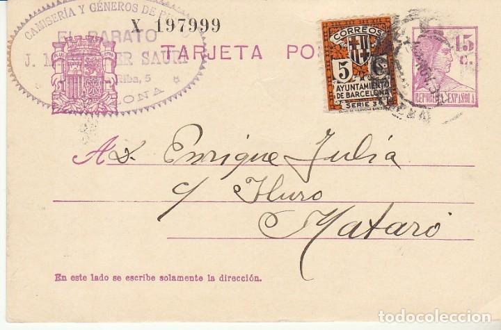 MATRONA DE PERFIL : BADALONA A MATARÓ. 1934. (Sellos - España - Tarjetas)