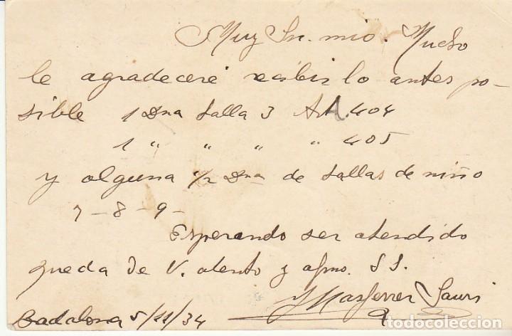 Sellos: MATRONA de PERFIL : BADALONA a MATARÓ. 1934. - Foto 2 - 173013808