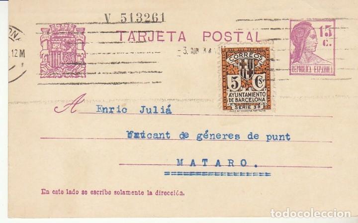 MATRONA DE PERFIL : BARCELONA A MATARÓ. 1934. (Sellos - España - Tarjetas)